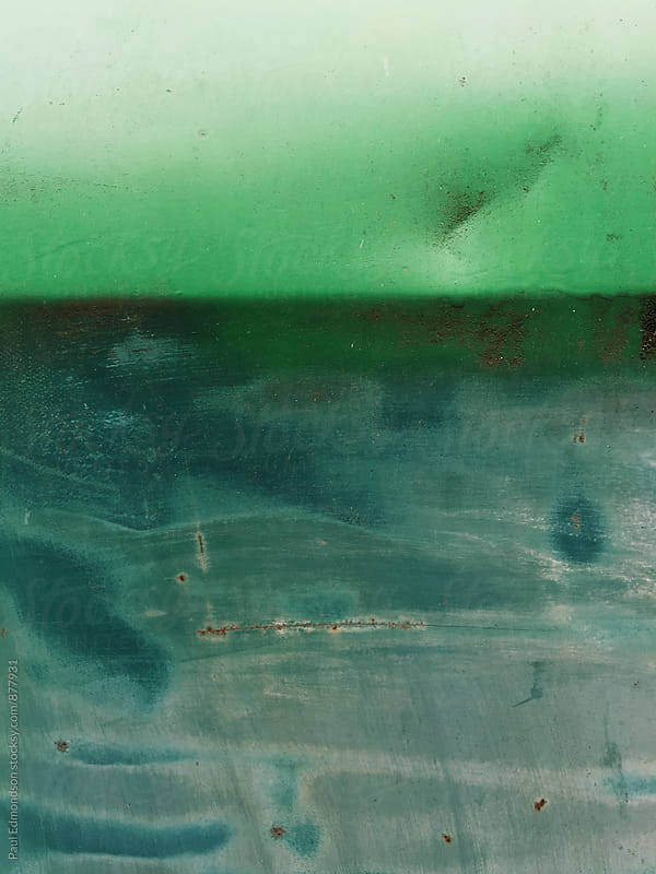 Detail of painted green car door by Paul Edmondson for Stocksy United