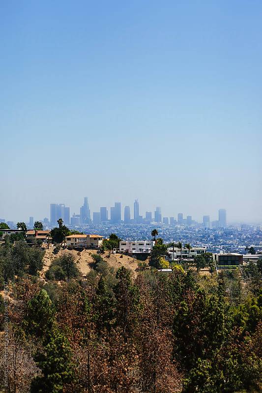 Vertical photo of Los Angeles seen from the Griffith Observatory.  by Kristen Curette Hines for Stocksy United