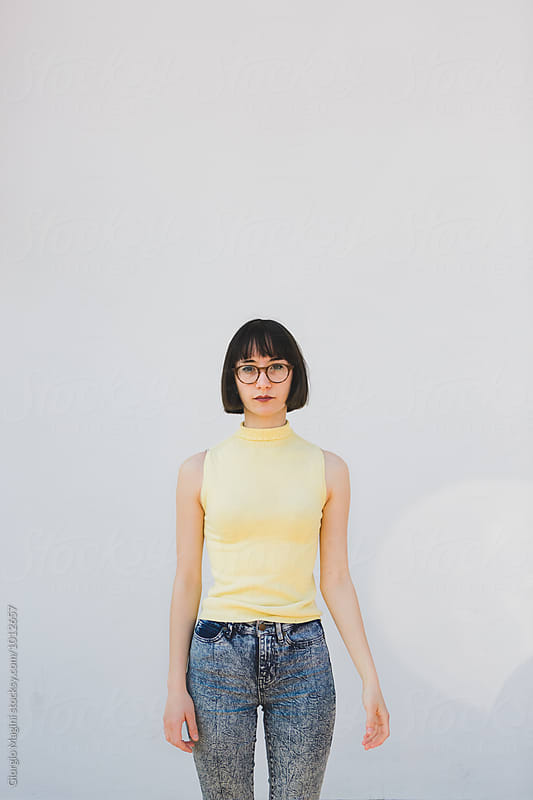 Nerdy Woman On White Background by Giorgio Magini for Stocksy United