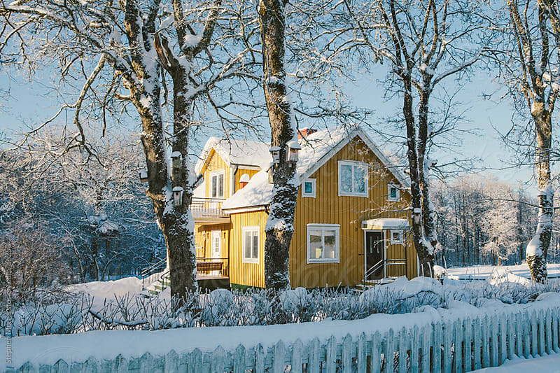 Yellow House in Winter Landscape by Stephen Morris for Stocksy United