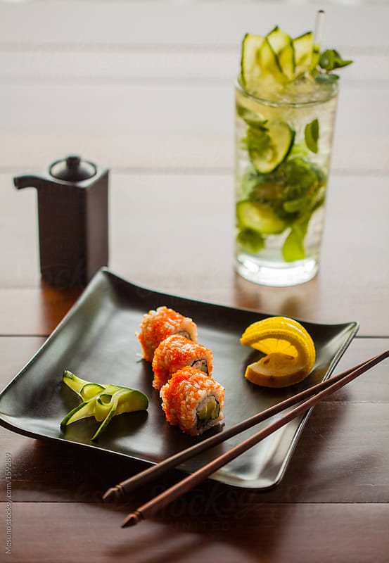 Sushi Plate with Drink on the Side by Mosuno for Stocksy United