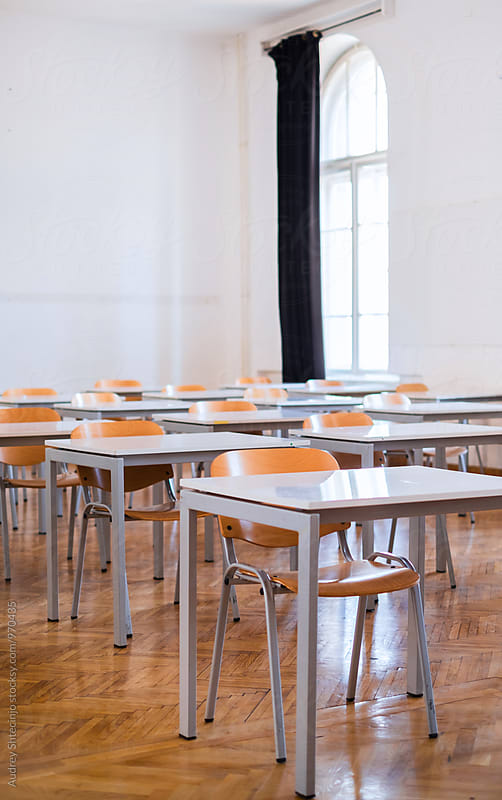 Empty classroom with chairs. by Marko Milanovic for Stocksy United