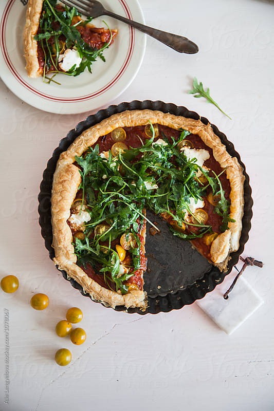 Quiche Recipe with Cherries and Arugula by Alie Lengyelova for Stocksy United