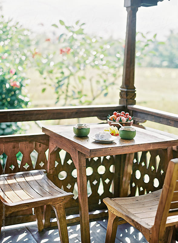 Breakfast on Porch in Ubud Bali by Vicki Grafton Photography for Stocksy United