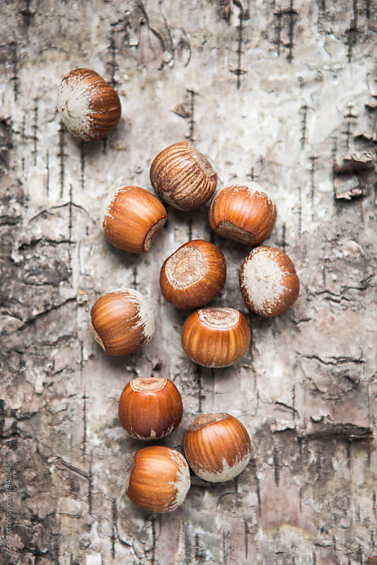 Hazelnuts on wooden background by Zocky for Stocksy United