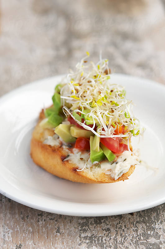 Tomato and Avocado Salsa Bruschetta by Harald Walker for Stocksy United