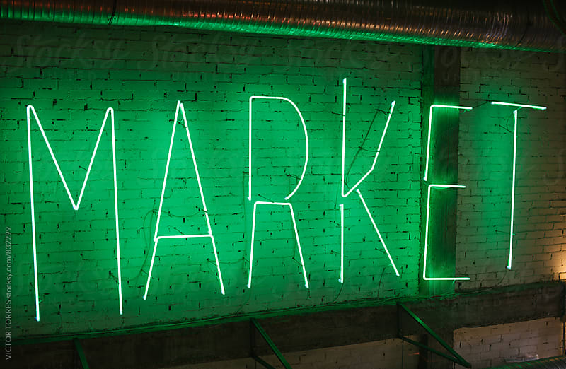Market Neon Sign by Victor Torres for Stocksy United