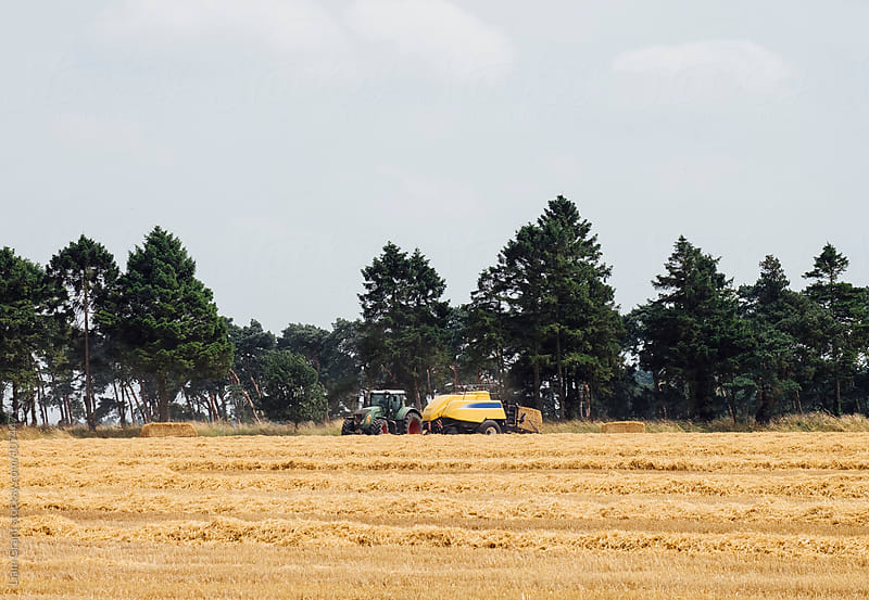 Tractor and baler, bailing straw in a recently harvested field. Norfolk, UK. by Liam Grant for Stocksy United