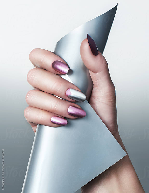 Pink and silver manicure  by Magdalena MM for Stocksy United