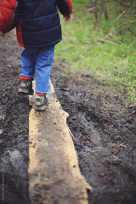 Crossing A Muddy Trail by ALICIA BOCK for Stocksy United