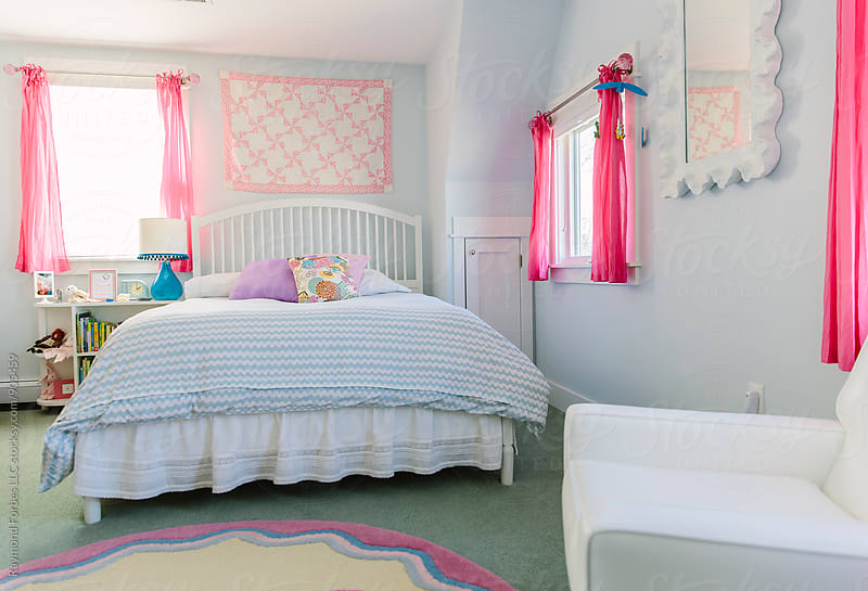 Girl's Bedroom in Blue by Raymond Forbes LLC for Stocksy United