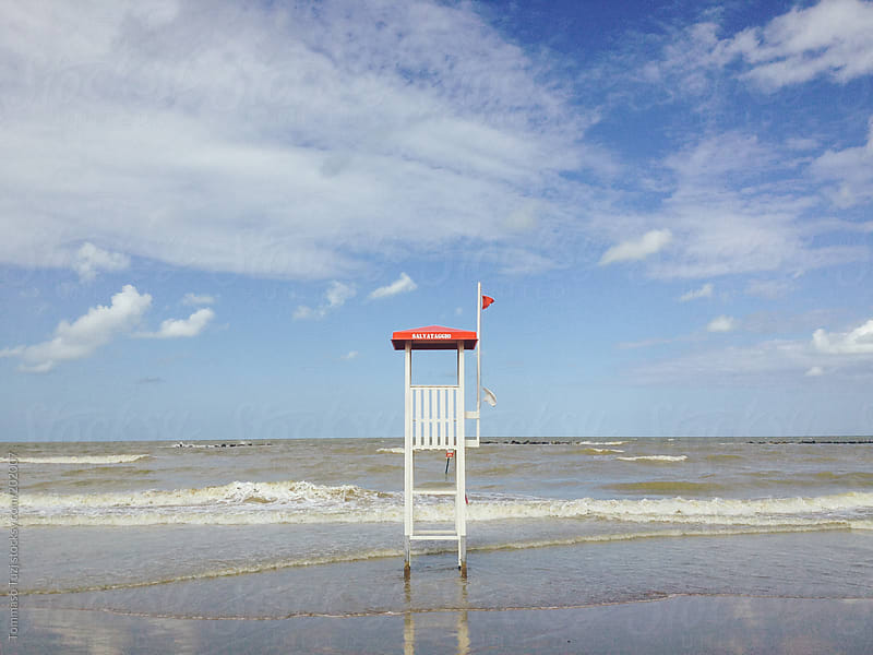 Lifeguard tower along the sea by Tommaso Tuzj for Stocksy United
