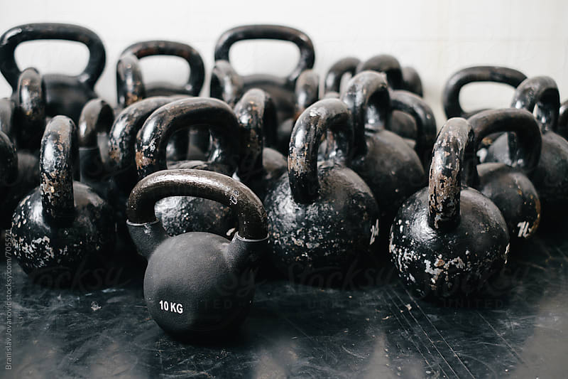 Bunch of Kettlebells at the Gym by Brkati Krokodil for Stocksy United