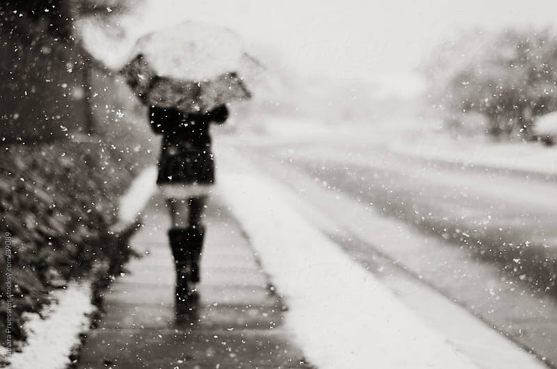 Woman Walking In Snow Storm With Umbrella by Tamara Pruessner for Stocksy United