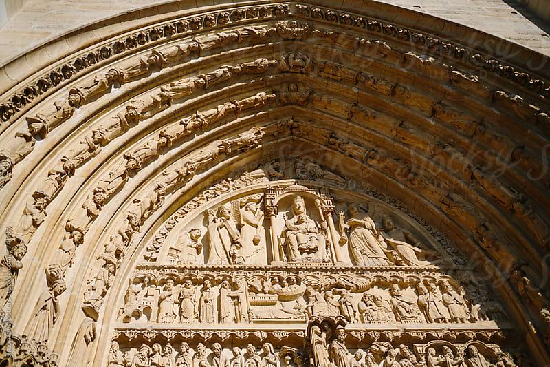 Detail of Notre Dame Cathedral in Paris by Simon DesRochers for Stocksy United