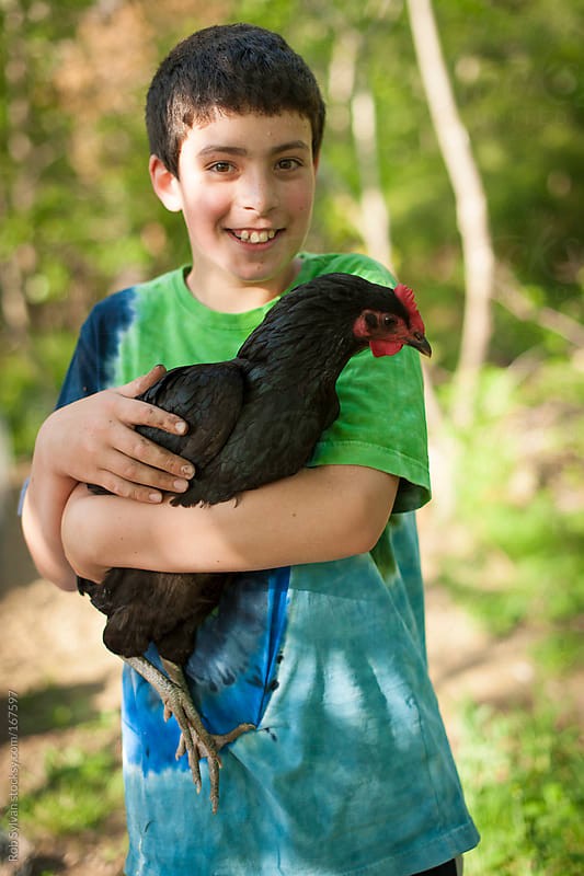 Boy Holding Pet Chicken by Rob Sylvan for Stocksy United