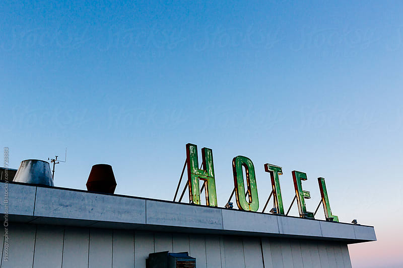 Vintage hotel sign by Photographer Christian B for Stocksy United