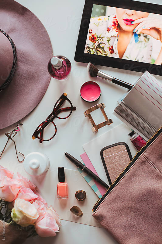 Contents of a Modern Woman's Bag by Lumina for Stocksy United