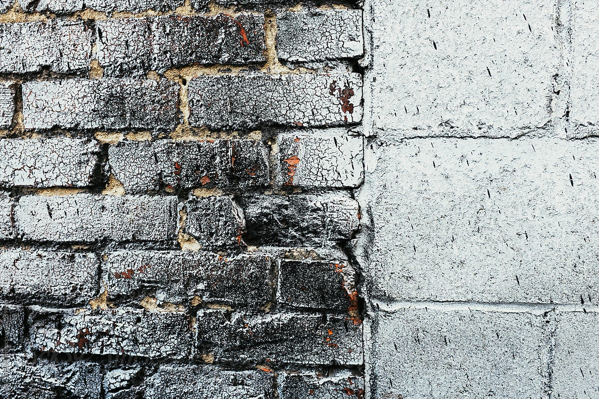 Image of: Close Up Eroding And Cracked Silver Paint On Brick And Cinder Block Wall Por Rialto Images Brick Wall Stocksy United