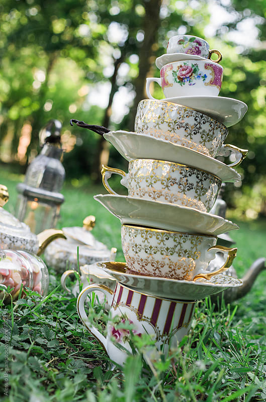Outdoor teacups stack by Alessio Bogani for Stocksy United