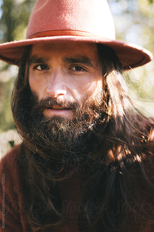 Portrait of a hipster bearded man. by BONNINSTUDIO for Stocksy United
