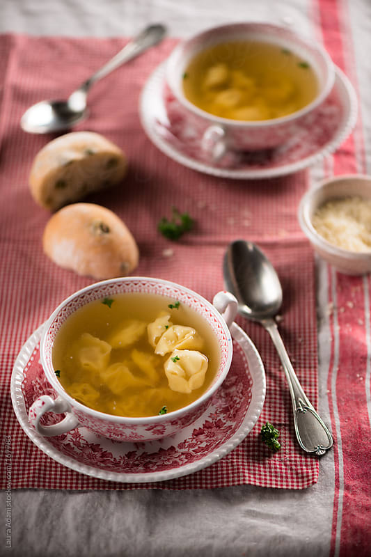 tortellini with stock  by Laura Adani for Stocksy United