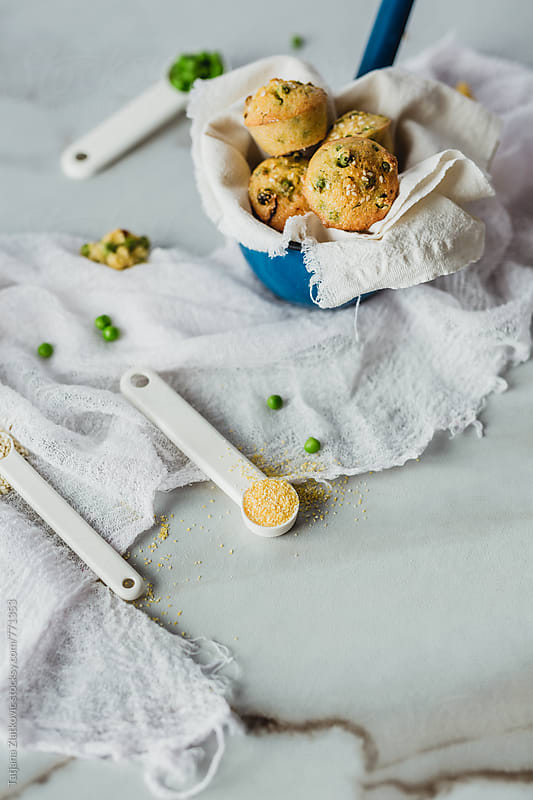 Muffins with peas by Tatjana Ristanic for Stocksy United