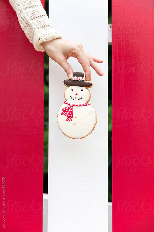 A hand holding a snowman cookie by Jovo Jovanovic for Stocksy United