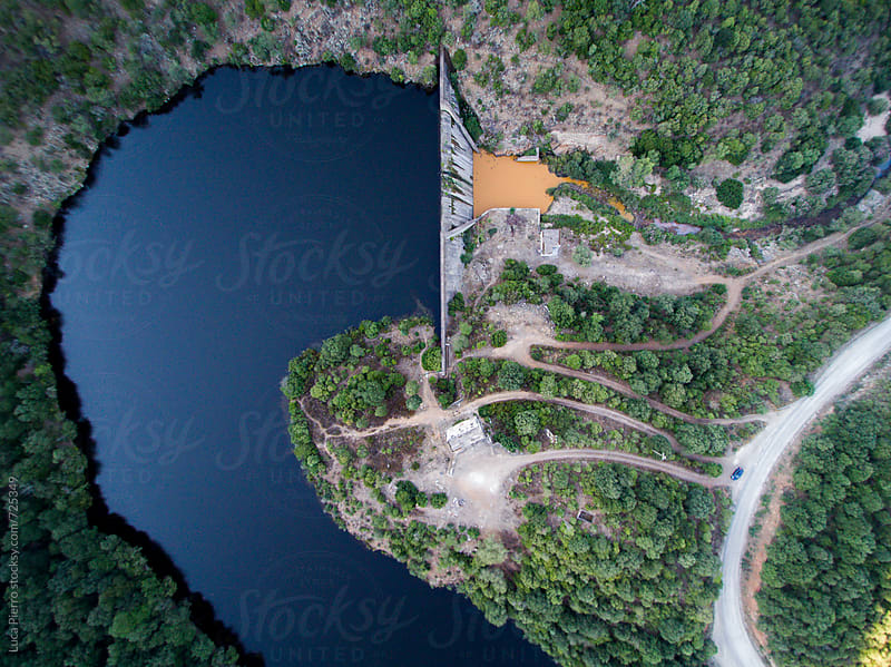 Hydroelectric dam - Aerial view by Luca Pierro for Stocksy United