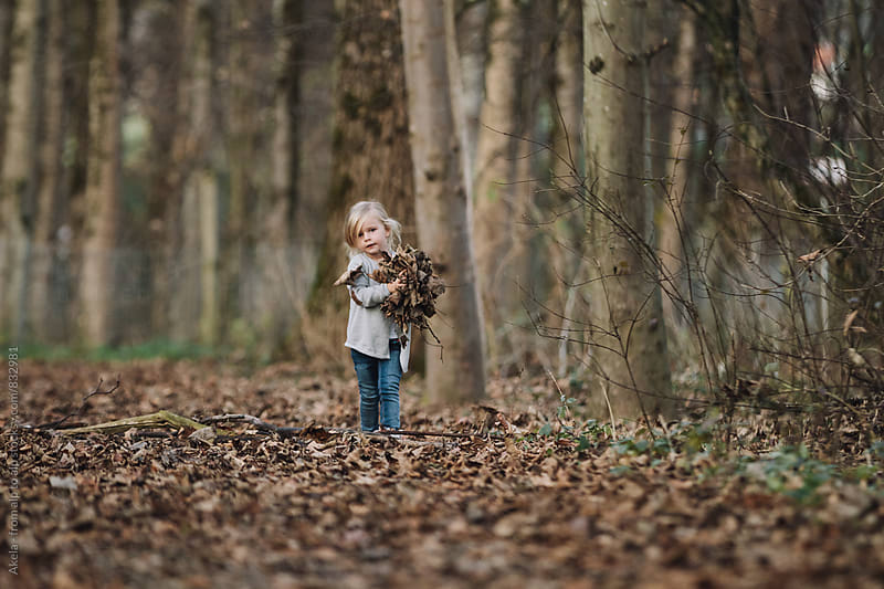 cute blonde little girl with hands full of foliage in autumnal forest by Leander Nardin for Stocksy United