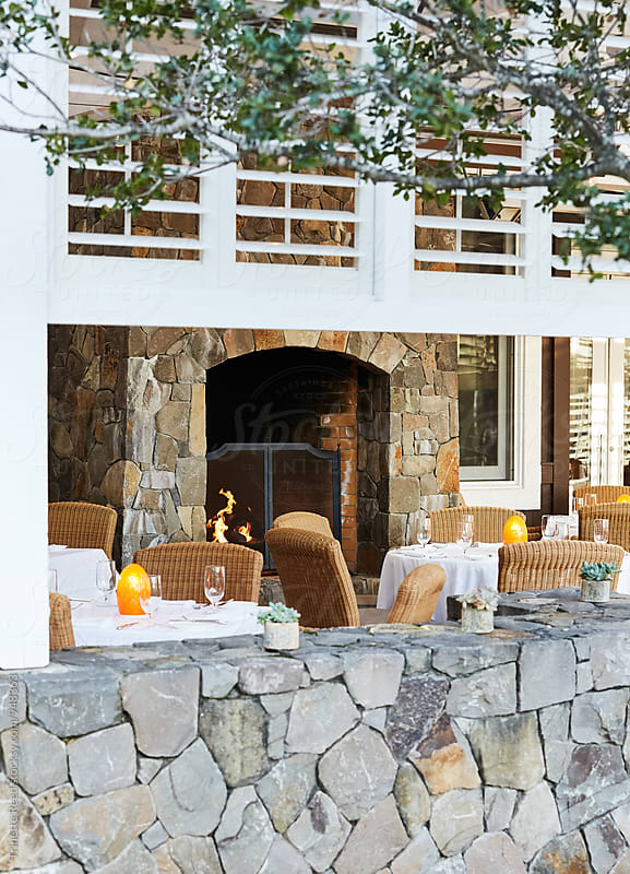 Outdoor Patio at Upscale Restaurant by Trinette Reed for Stocksy United