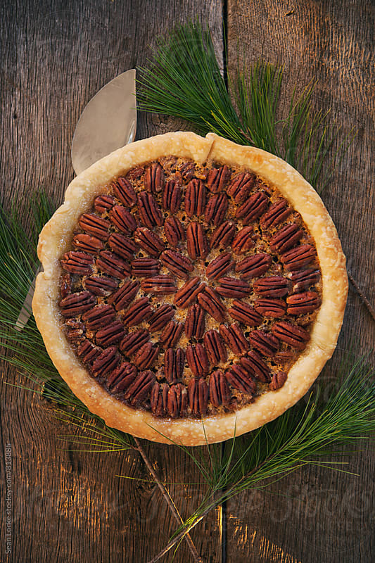 Christmas: Overhead Of Traditional Pecan Pie by Sean Locke for Stocksy United