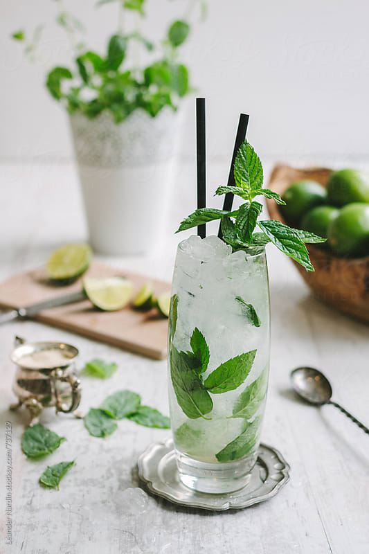 mojito cocktail with fresh mint garnish  by Leander Nardin for Stocksy United