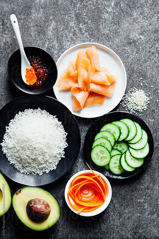 Sushi bowl ingredients by Ellie Baygulov for Stocksy United