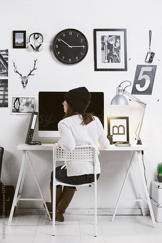 Modern workspace with a creative woman worker.  by BONNINSTUDIO for Stocksy United