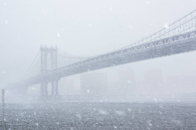 Manhattan Bridge in snow storm by yuko hirao for Stocksy United