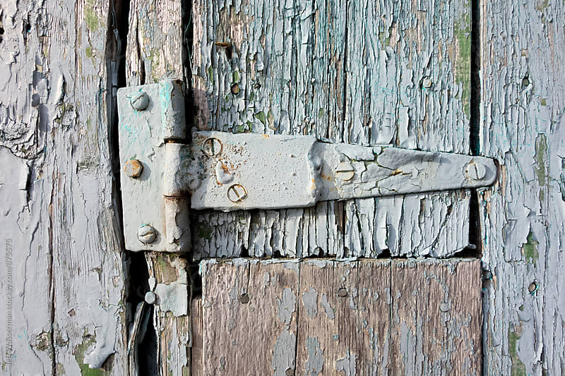 Hinge on Distressed Blue Wood Shed by Studio Six for Stocksy United