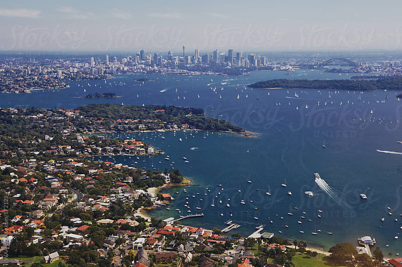 Aerial view of Sydney Harbour by WAA for Stocksy United