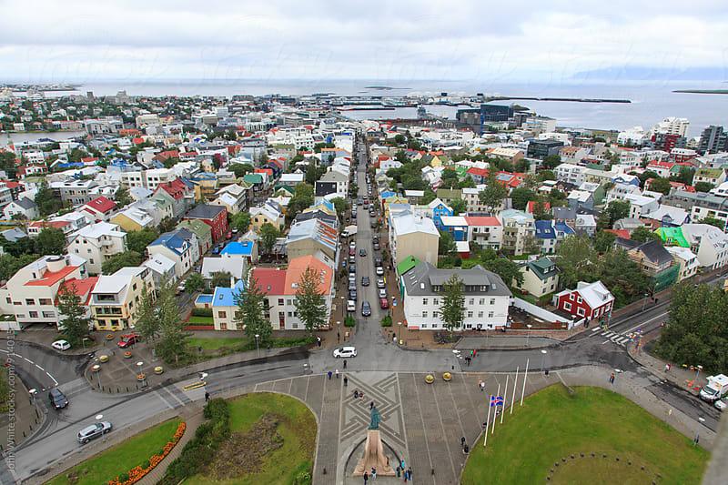 Reykjavík from the top of Hallgrimskirkja. Iceland. by John White for Stocksy United