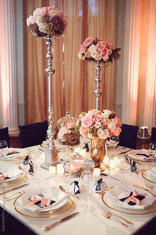 Pink Wedding Tablescape  by ZOA PHOTO for Stocksy United