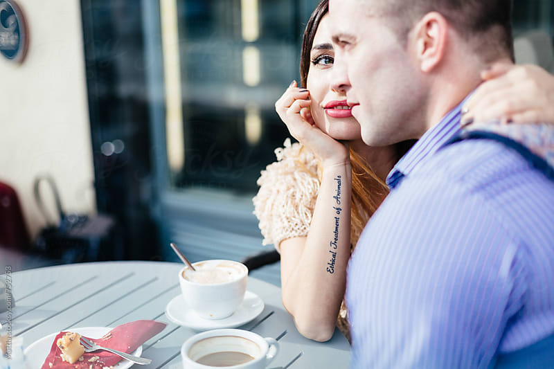 Couple Dating in a Coffee Shop by HEX . for Stocksy United