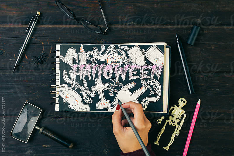 Halloween draw in a sketchbook. by BONNINSTUDIO for Stocksy United