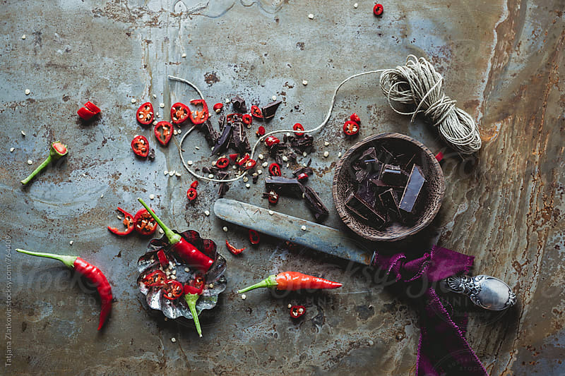 Ingredients for hot chocolate with chili pepper by Tatjana Ristanic for Stocksy United