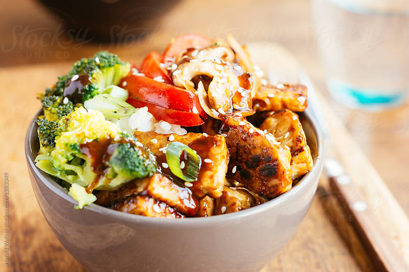 Tempeh, Broccoli, Shiitake Bowl by Harald Walker for Stocksy United