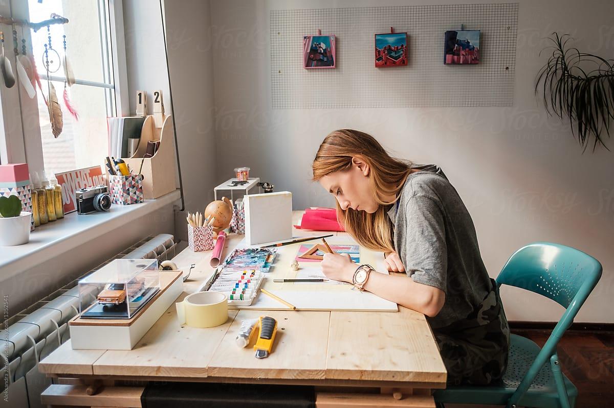Artist Working At The Studio by Aleksandra Jankovic - Creative, Woman