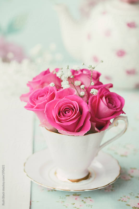 Roses and gypsophila in a teacup by Ruth Black for Stocksy United
