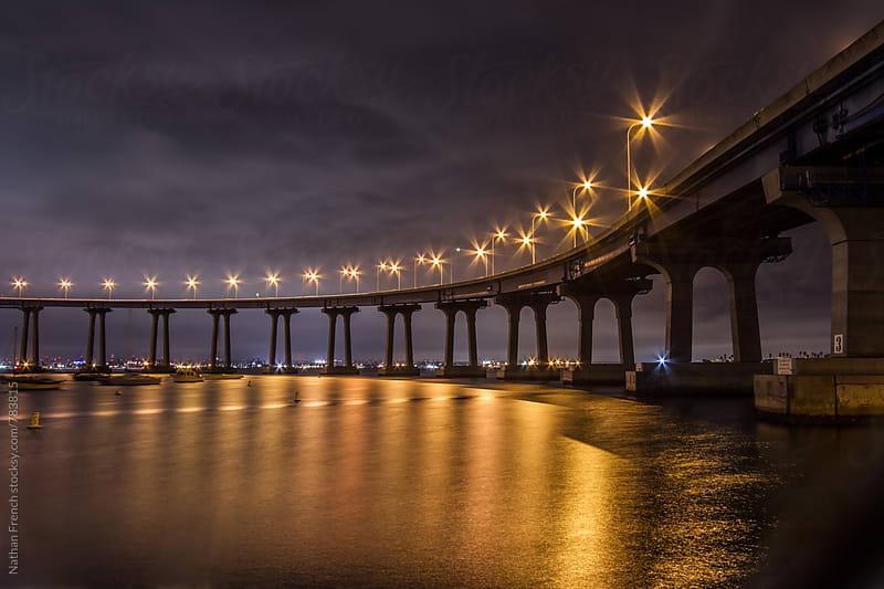 Coronado Bridge at Night by Nathan French for Stocksy United