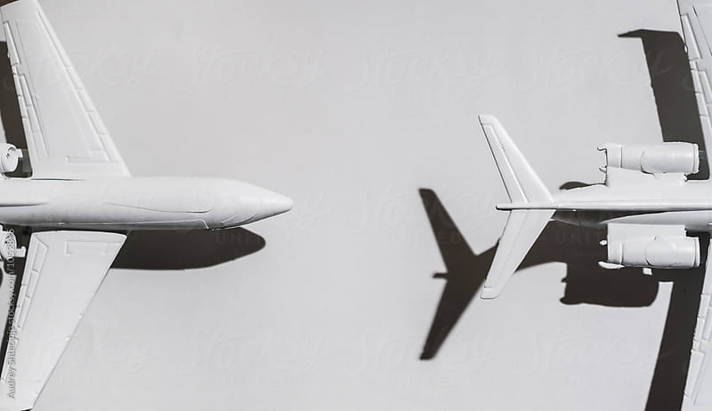 White airplane on white background/miniature by Audrey Shtecinjo for Stocksy United