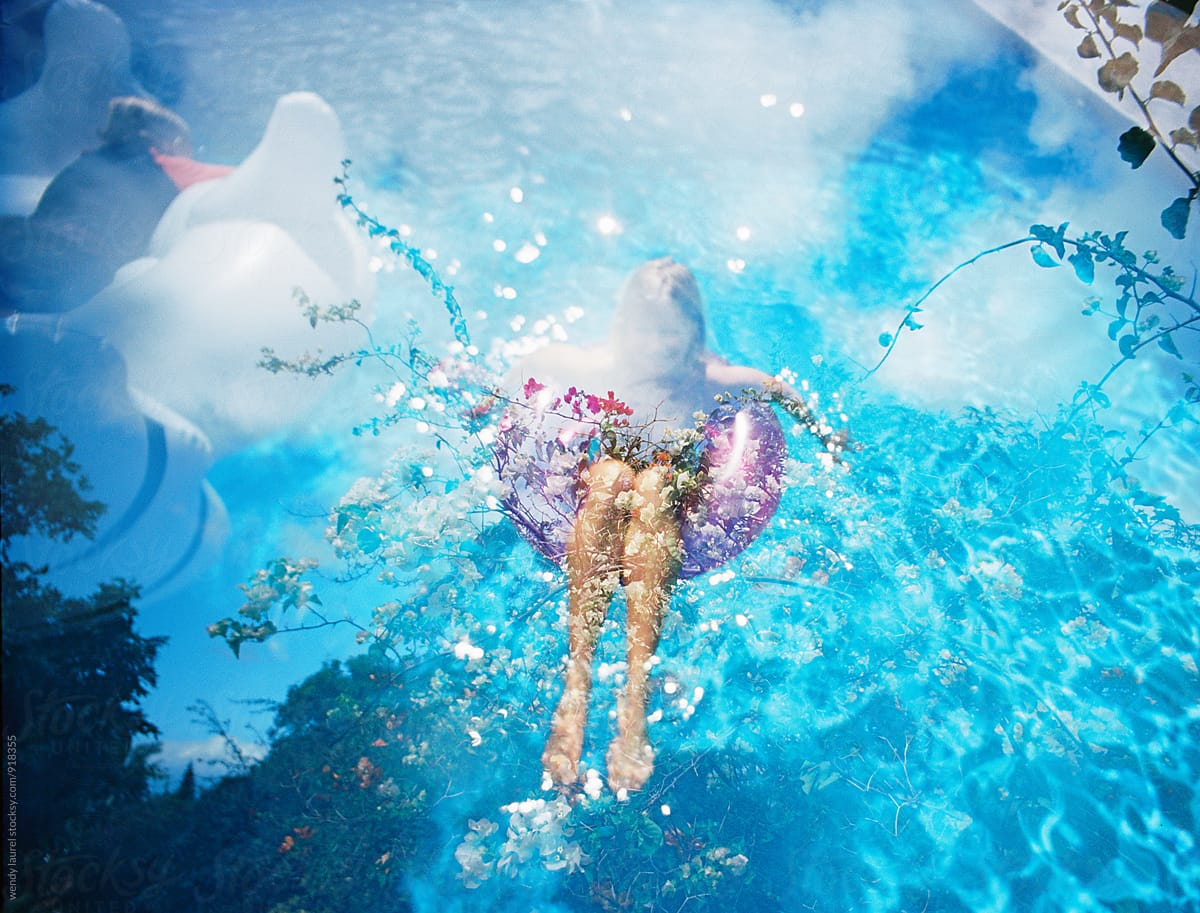 Girl in floaty in pool with blue water double exposed with flowers girl in floaty in pool with blue water double exposed with flowers by wendy laurel for izmirmasajfo