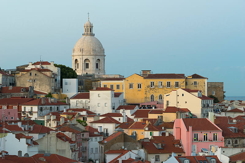 Lisbon, Portugal - Evening View of Alfama with the Church of Santa Engrácia by Tom Uhlenberg for Stocksy United